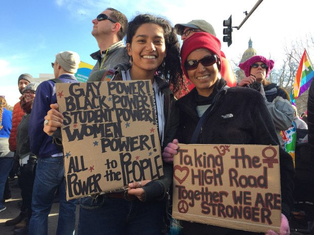 Ayesha Hussain and her mother Nasreen Moloo attend the Women's March on Denver Jan. 21, 2017.