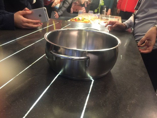 In the Panasonic smart kitchen at CES 2017, the induction stove top is built into the counter. Set a pot anywhere in the area and it starts cooking.