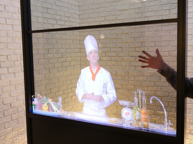 Panasonic's transparent glass turns a window into a video screen. Photo taken at Panasonic's CES 2017 booth in Las Vegas.
