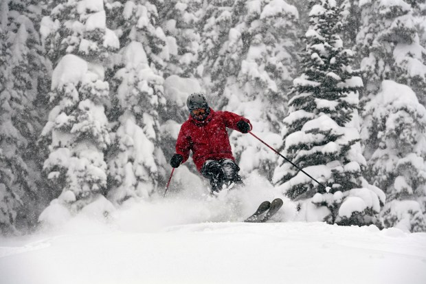 Skier Scooter Gates takes advantage of the huge amounts of powder while skiing at Crested Butte ski area on January 11, 2017 in Crested Butte, Colorado. Hopper, who has lived in the are for over 25 years, said he has never seen such incredible conditions. The ski area has had over 90 inches of snow in less than 10 days.