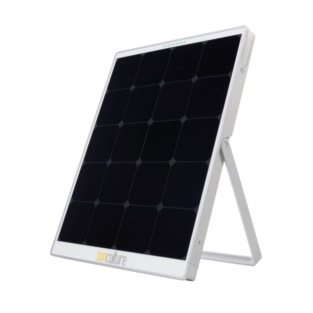 SolPad solar panel has built-in batteries for longer power storage.