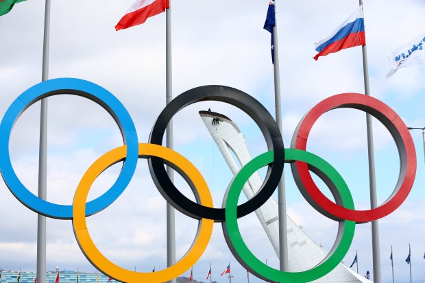 The Olympic Rings are displayed while ...
