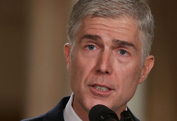 Judge Neil Gorsuch speaks at the White House Tuesday after President Donald Trump nominated him to the Supreme Court.
