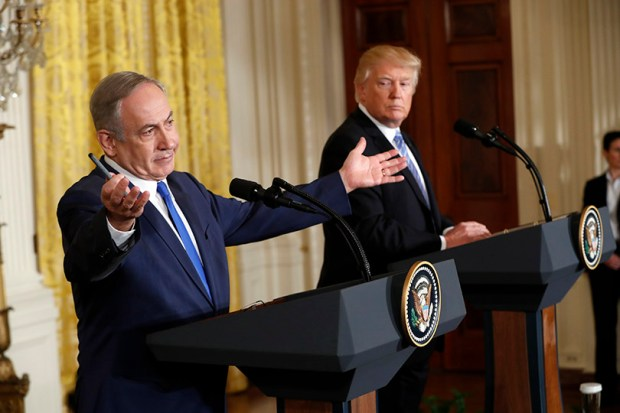 President Donald Trump and Israeli Prime Minister Benjamin Netanyahu give a joint news conference at the White House last Wednesday.