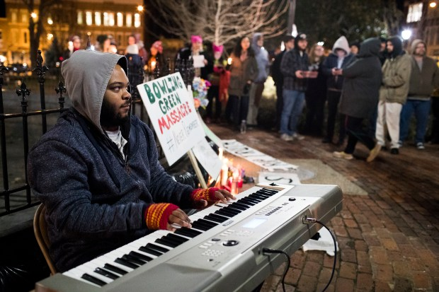 "Jerone Williams plays piano during a Bowling Green ""massacre"" remembrance gathering on Feb. 3, 2017, at Fountain Square Park in Bowling Green, Ky."