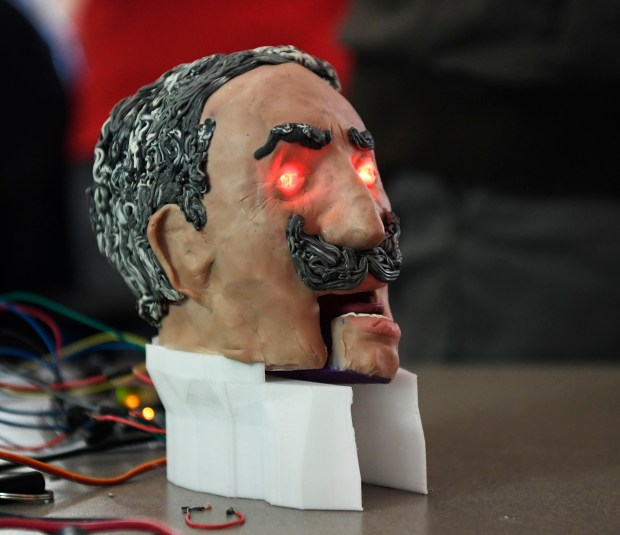 World history students at STEM School Academy in Douglas County built a historical figure head of Kaiser Wilhelm compete with artificial intelligence that can speak through Google February 7, 2017.