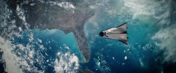 "The Dream Chaser multi-use low-Earth orbit aircraft, designed and built by Louisville's Sierra Nevada Corp., as seen in ""The Space Between Us,"" a feature film opening at area theaters today."