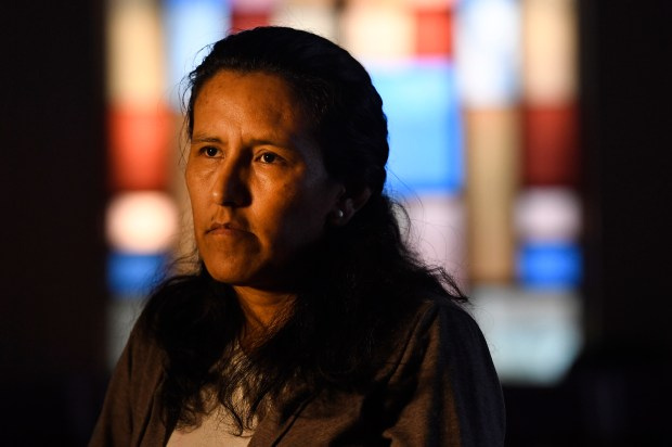 """Jeanette Vizguerra is pictured in the sanctuary of the First Unitarian Church on Feb. 16, 2017 in Denver, Colorado. The mother of four, who is facing impending deportation from the United States, has taken sanctuary at the church in hopes of gaining a """"stay of deportation"""". She has lived in the US for over 20 years, having entered the country illegally from Mexico in 1997. Three of her children are American citizens. Helen H. Richardson, The Denver Post"""