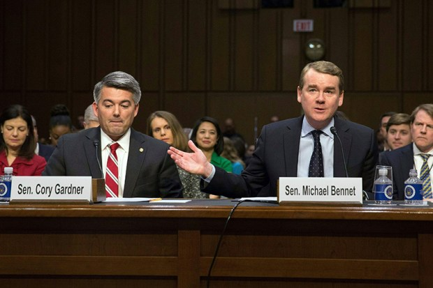 Colorado's U.S. Sens. Cory Gardner and Michael Bennet appear during the confirmation hearing for Supreme Court nominee Neil Gorsuch on Monday in Washington.
