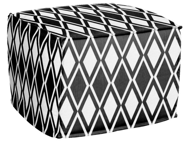 A pouf upholstered in an African motif. Poufs and pillows upholstered in African motifs are fun ways to introduce the style, says Jeanine Hays of AphroChic.