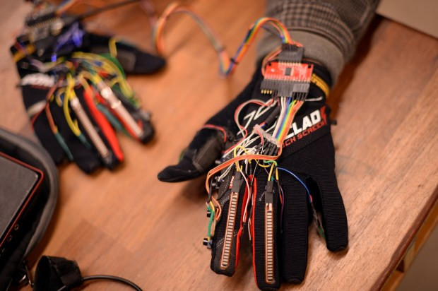 BOULDER, CO - MARCH 10: Technology, Arts and Media program student Kristof Klipfel created gloves that can turn any surface into a musical keyboard at University of Colorado Boulder March 10, 2017, in Boulder, Colorado. (Photo by Hyoung Chang/The Denver Post)