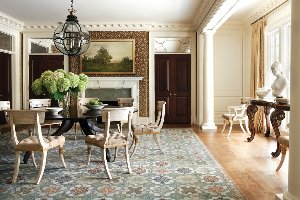 A McLean Dining Room Designed By Thomas Pheasant Has Classical Details,  With Walls Upholstered In