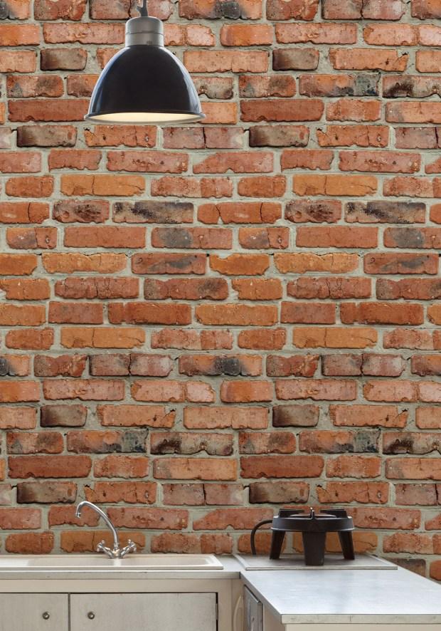 Milton & King's Camden Factory Bricks wallpaper is the company's most popular brick wallcovering ($132 per roll, miltonandking.com.