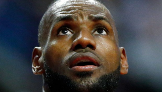 Cleveland Cavaliers forward LeBron James looks ...