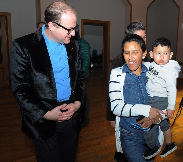 U.S. Rep. Jared Polis met with Jeanette Vizguerra, holding grandson Santiago Tabulla, at the First Unitarian Church Wednesday, March 3, 2017. Vizguerra took sanctuary in the church while facing deportation to Mexico. Polis expressed his unhappiness with the way ICE and the Trump Administration are handling her case on Wednesday, March 3, 2017.