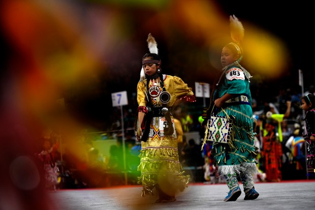 DENVER, CO - MARCH 25: Mitcheleen Cyrus 11, from Montana during the jingle dance at the Denver March Powwow at the Denver Coliseum. March 25, 2017, Denver, Colorado. (Photo by Joe Amon/The Denver Post)