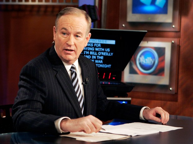 "In this Jan. 18, 2007, file photo, Fox News commentator Bill O'Reilly appears on his show, ""The O'Reilly Factor."" O'Reilly lost his job at Fox News Channel this month following reports that several women had been paid millions of dollars to keep quiet about sexual harassment allegations."