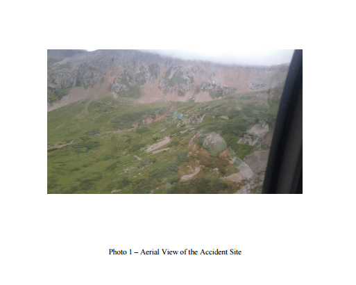 An aerial photo of the Cessna 310 crash site near Silverton in September 2015.