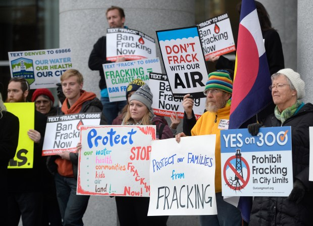 Protesters gather in front of the Colorado Supreme Court before hearings on local governments and fracking on Dec. 9, 2015.