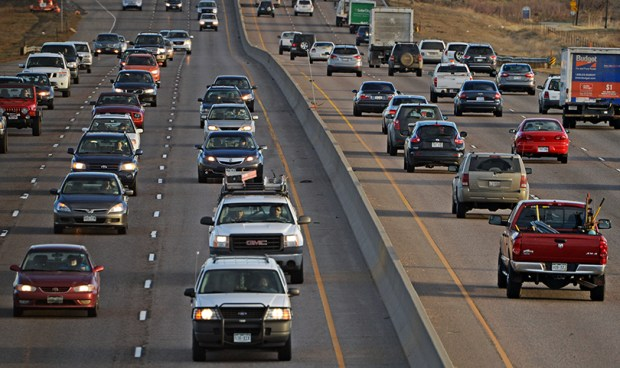 Traffic moves along on Interstate 25 in Thornton on March 20, 2014. A major transportation bill that seeks a tax hike to improve and expand highways -- the top priority of this year's Colorado General Assembly -- is unlikely to win approval this term.