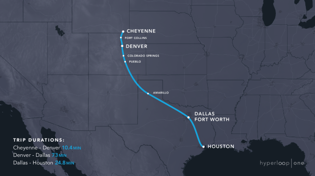The Rocky Mountain Hyperloop Consortium has presented a 1,152-mile route in the Hyperloop One transportation challenge that would cut the 17-hour trip by car to 1 hour and 48 minutes.