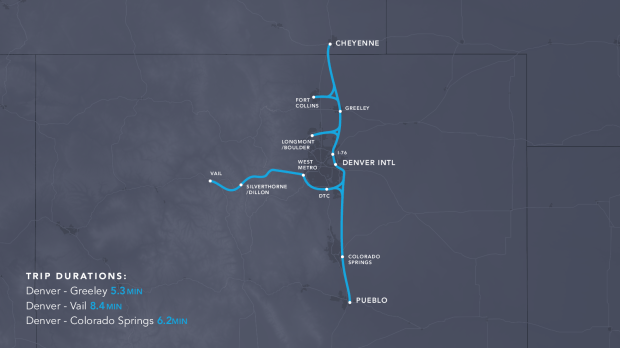 A 360-mile route, proposed by Team Rocky Mountain Hyperloop, would connect the Denver International Airport to Pueblo, Vail and Cheyenne, Wyoming. A Denver-to-Vail route would take 8.4 minutes, instead of 2 hours and 36 minutes by car.