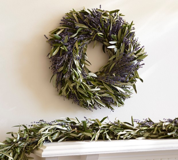 Dried lavender and olive branch wreath.
