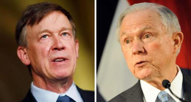 Colorado Gov. John Hickenlooper, left, met ...