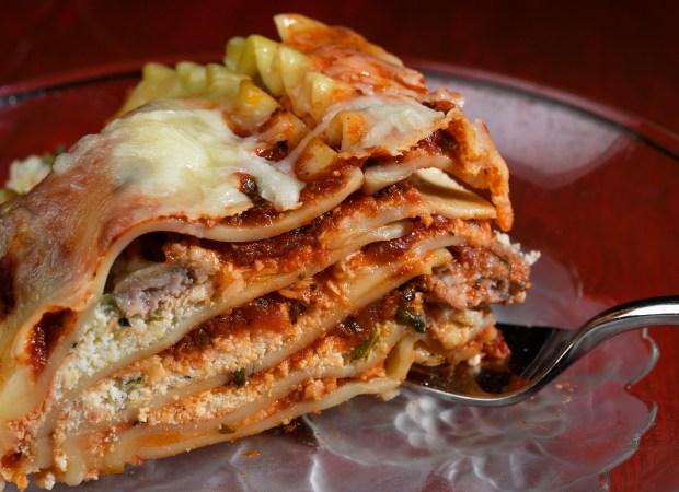 "Denver Post features editor Barbara Ellis' slow cooker Sausage Lasagna from ""Slow Cooker Revolution"" by America's Test Kitchen at the Denver Post studios April 11, 2017 in Denver."