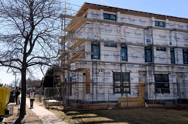 An apartment under construction in Littleton last month.