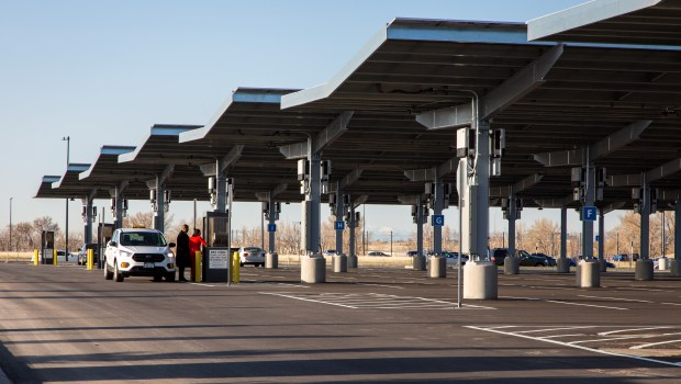 Denver International Airport's new parking lot at 61st and Pena boasts 609 parking spots covered by solar canopies.