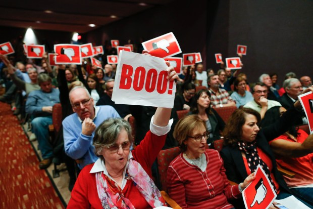 Constituents react after U.S. Congressman Leonard Lance (R-NJ) responded to questions during a town hall event at the Edward Nash Theater on the campus of Raritan Valley Community College on Feb. 25, 2017 in Branchburg, New Jersey.