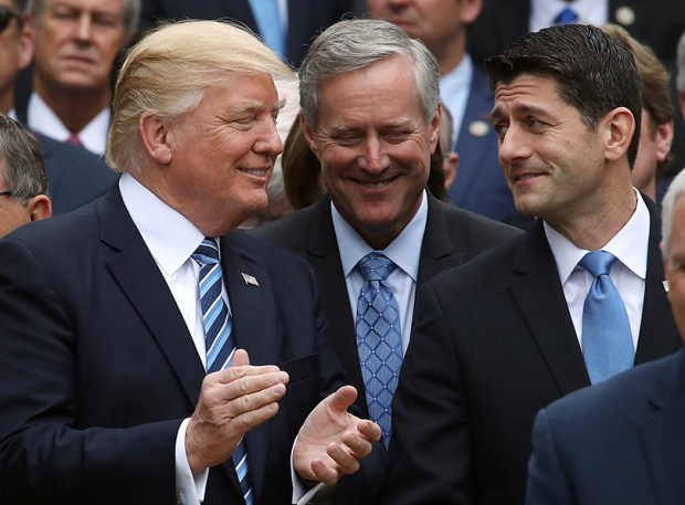 President Donald Trump stands with House Speaker Paul Ryan and House Freedom Caucus Chairman Mark Meadows on May 4 in the Rose Garden of the White House after Republicans passed legislation aimed at repealing and replacing the Affordable Care Act.