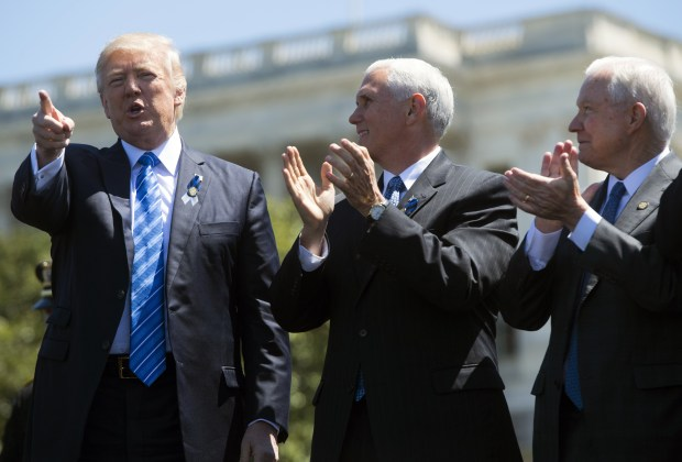 President Donald Trump, Vice President Mike Pence and Attorney General Jeff Sessions attend Monday's National Peace Officers Memorial Service at the U.S. Capitol.