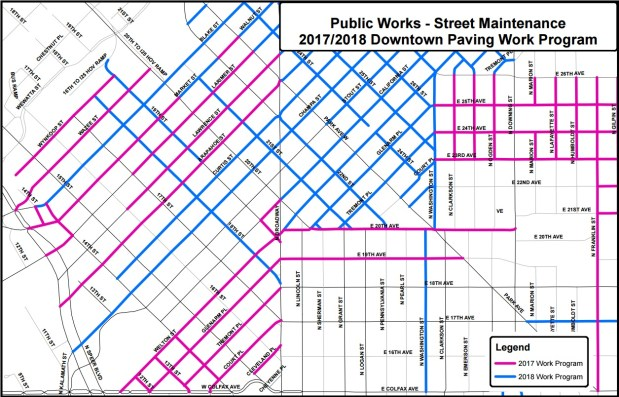 Denver Public Works plans to mill and pave about 100 blocks of downtown streets between May and August 2017 (shown in pink). Other streets are due for repaving in 2018 (shown in blue).