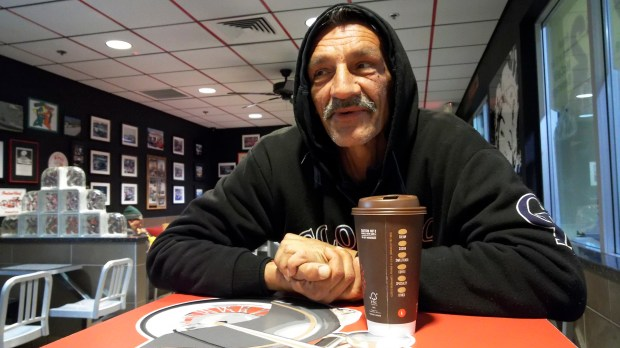 Colorado Rockies fan Angelo sits in McDonalds with a cup of coffee on March 6, 2017 in Scottsdale, Arizona. Angelo is a long time Rockies fan and has been following the team since they were in Tucson.
