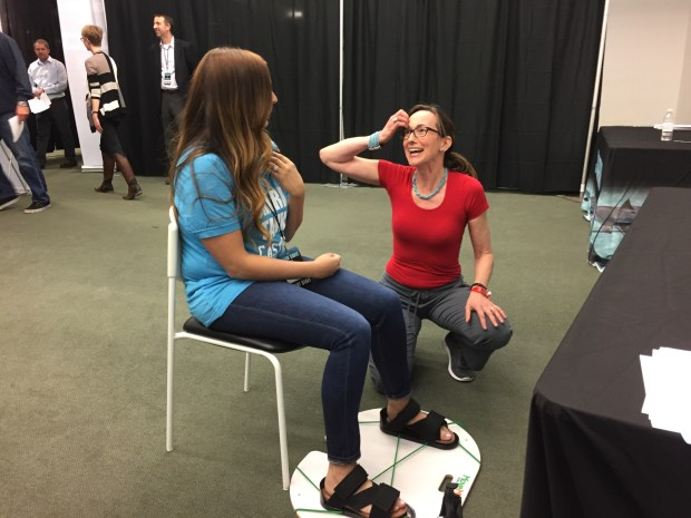 Cate Reade from Littleton pitches her MoveMor Mobility Trainer to Shark Tank casting associate producer Erica Hochberg. Reade is among nearly 250 entrepreneurs who showed up Wednesday, May 24, 2017, to pitch the popular ABC TV show while casting agents were in Centennial for an open call.