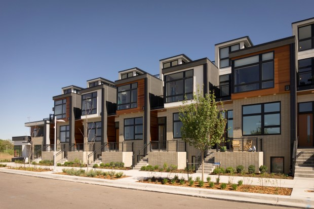 The exterior of Koelbel Urban Homes at CityHomes in Boulevard One at Lowry.