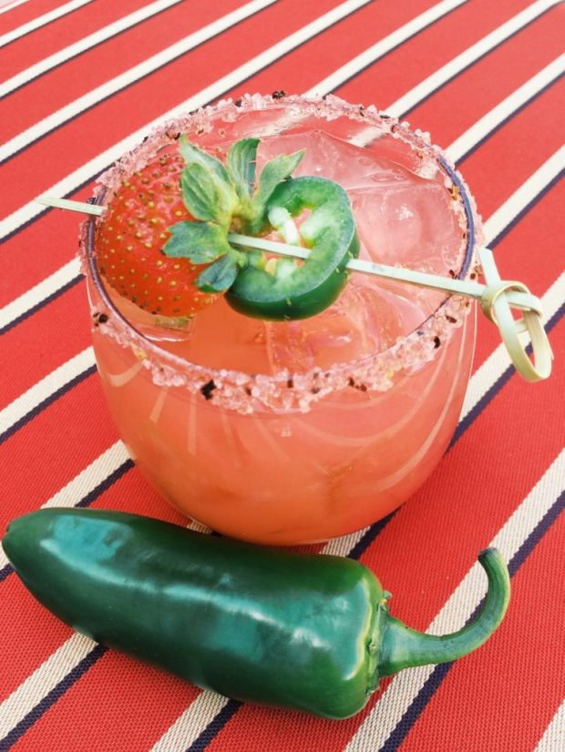 The Luminaria Strawberry Jalapeño Margarita. (Brittany Anas, Special to The Denver Post)