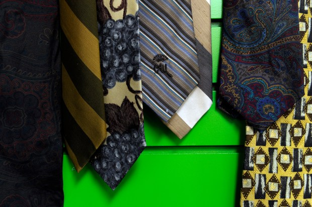 "A collection of ties on display at ReNew, an ""upscale"" thrift shop, in Englewood,"