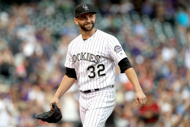 Starting pitcher Tyler Chatwood #32 of ...
