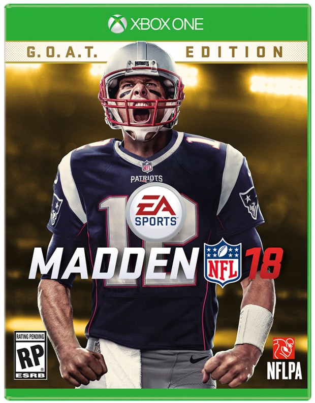 New England Patriots quarterback Tom Brady on the the cover of the Madden 18