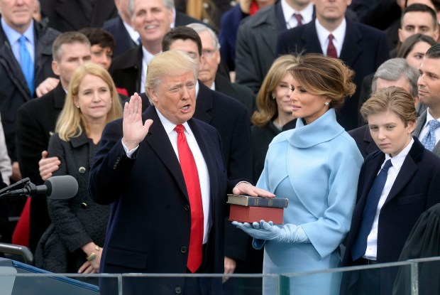 President Donald Trump takes the oath of office during his inauguration on Jan. 20.