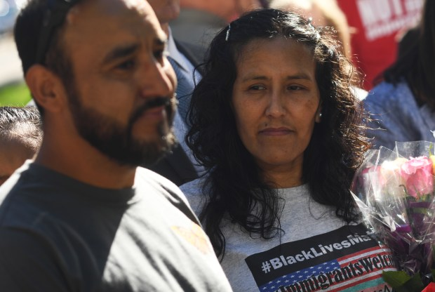 Arturo Hernandez Garcia and Jeanette Vizguerra celebrate being granted stays of deportation during a press conference outside First Baptist Church May 12, 2017 in Denver.