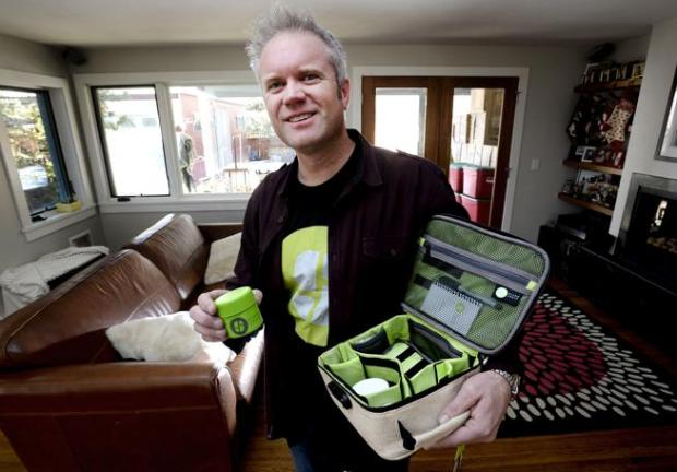 Skip Stone, founder of STASHLOGIX with one of his company's products on Thursday December 3, 2015.