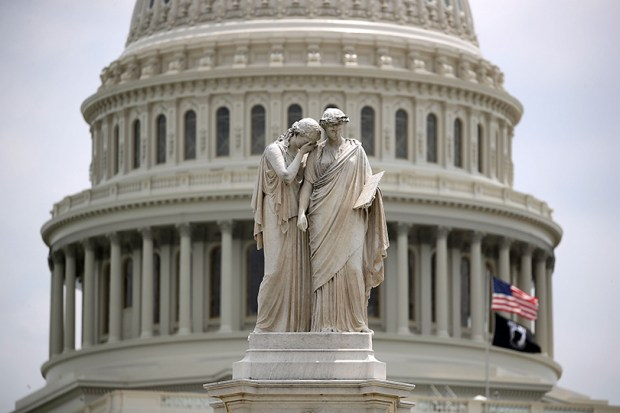The Peace Monument at the U.S. Capitol is seen on June 14, following the shooting of Rep. Steve Scalise and four others at a baseball field in Alexandria, Va.