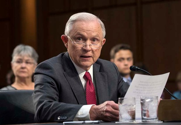 Attorney General Jeff Sessions testifies before the Senate Intelligence Committee on Tuesday.