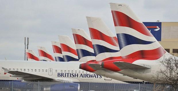 British Airways planes at Heathrow Airport in London.