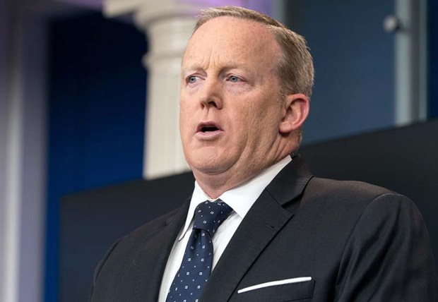 White House spokesman Sean Spicer speaks during a press briefing at the White House on Tuesday.