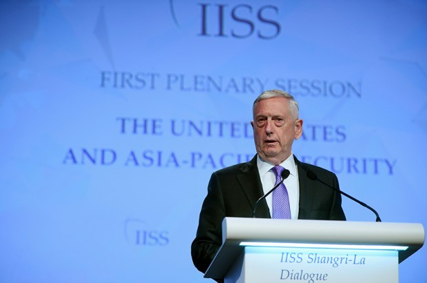 U.S. Defense Secretary Jim Mattis speaks during the 2017 International Institute for Strategic Studies Shangri-la Dialogue, an annual defense and security forum, last Saturday in Singapore.